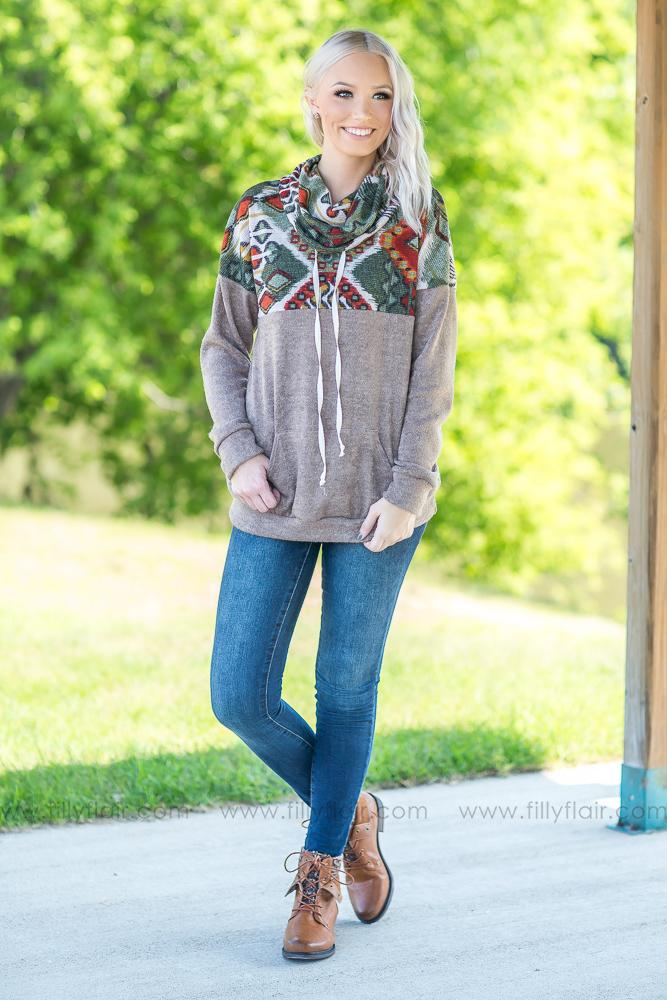 Where You're From Tribal Cowl Neck Sweater in Taupe - Filly Flair