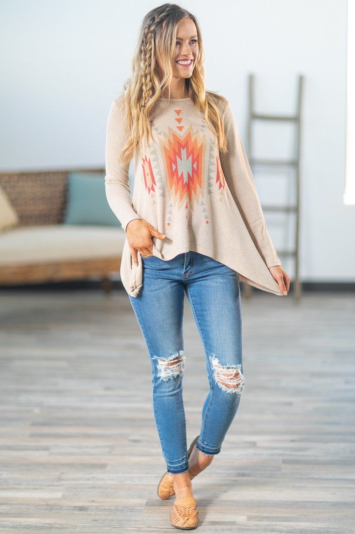 Amarillo Sky Aztec Printed Long Sleeve Top in Taupe - Filly Flair