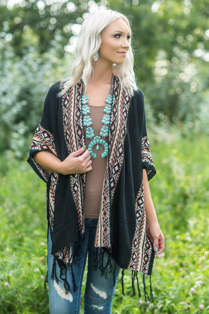 All My Dreams Printed Kimono Cardigan in Black - Filly Flair
