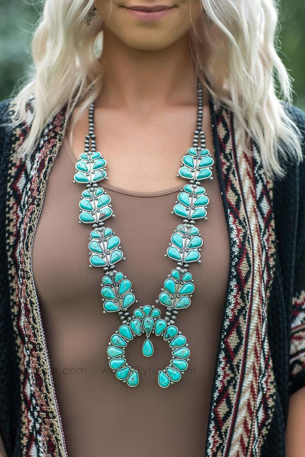 Home Free Authentic Turquoise Squash Blossom Necklace - Filly Flair
