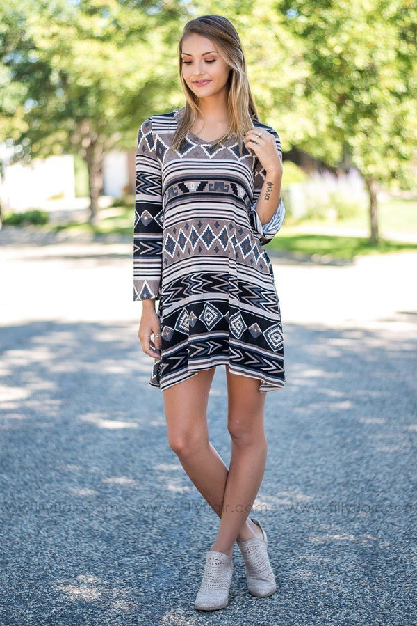 Fiesta Black Taupe Aztec Printed Dress