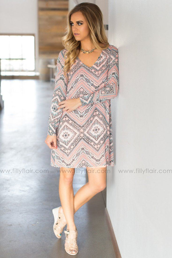 aztec t back boutique dress