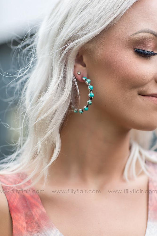 Caught Up Authentic Turquoise Silver Hoop Earrings - Filly Flair