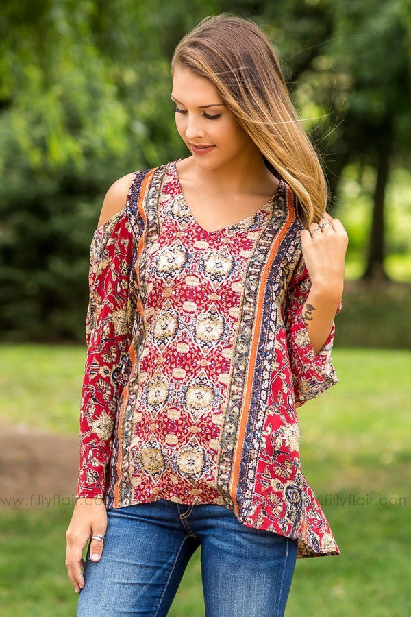 Crushing Red Printed Cold Shoulder Top