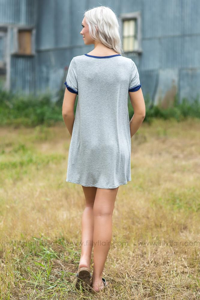 All The Things You Said Aztec Pocket Tunic in Heather Grey - Filly Flair