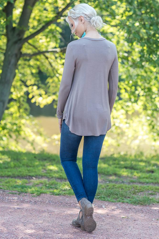 New Day Long Sleeve Top in Mocha - Filly Flair