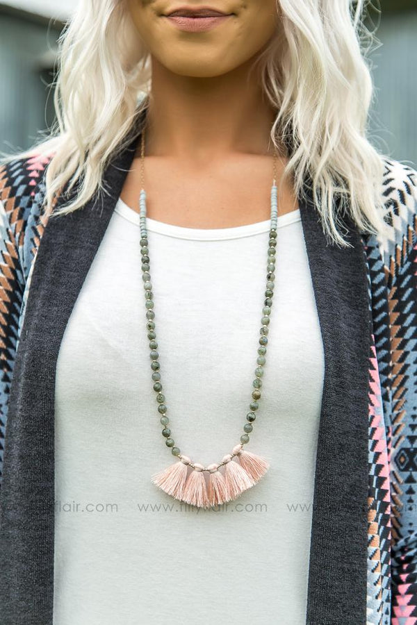 Keep on Swaying Pink Tassel Necklace - Filly Flair