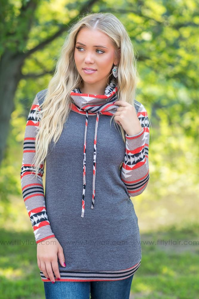 All Kinds of Kinds Aztec Long Sleeve Cowl Neck Top in Charcoal - Filly Flair