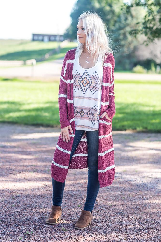 Time After Time Long Striped Sweater Cardigan in Burgundy White - Filly Flair