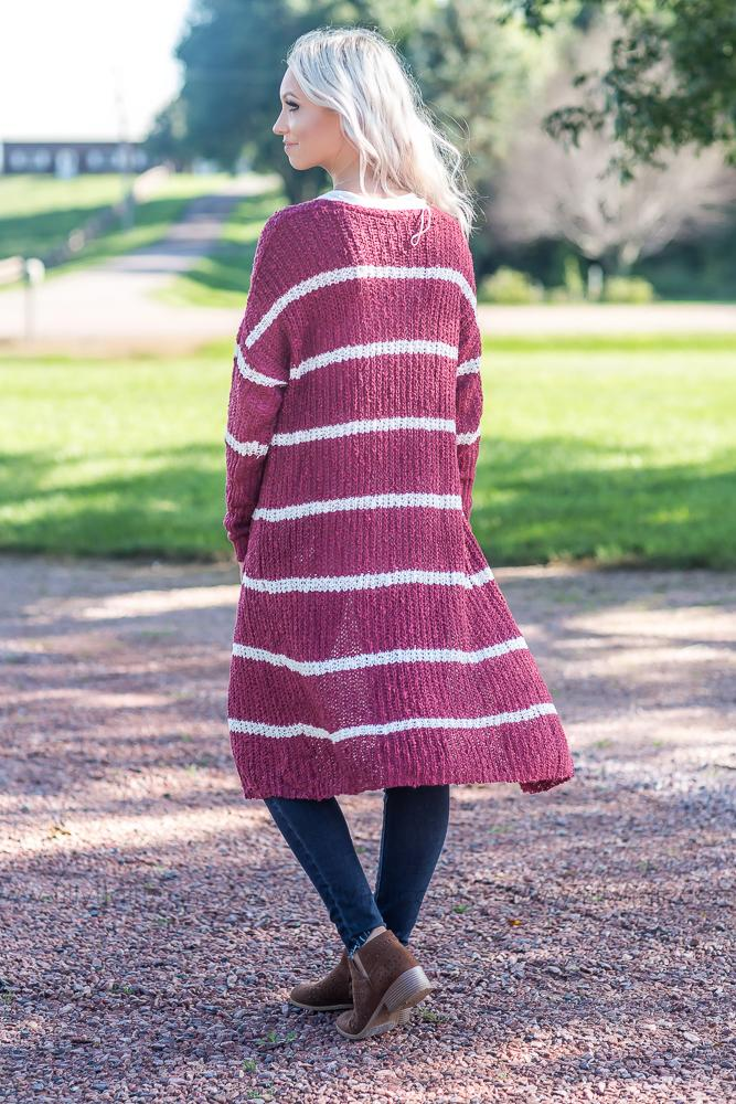 Time After Time White Stripe Long Sweater Cardigan in Burgundy - Filly Flair