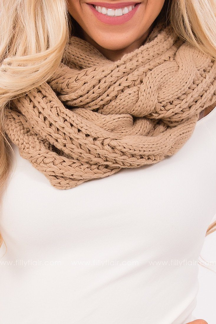 Keep You Cozy Cable Knit Scarf Taupe
