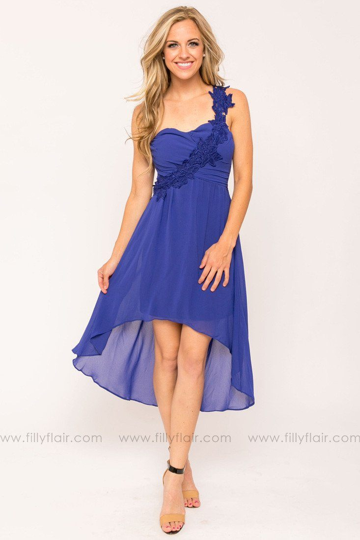 Dixie High Low Bridesmaid Dress in Royal Blue