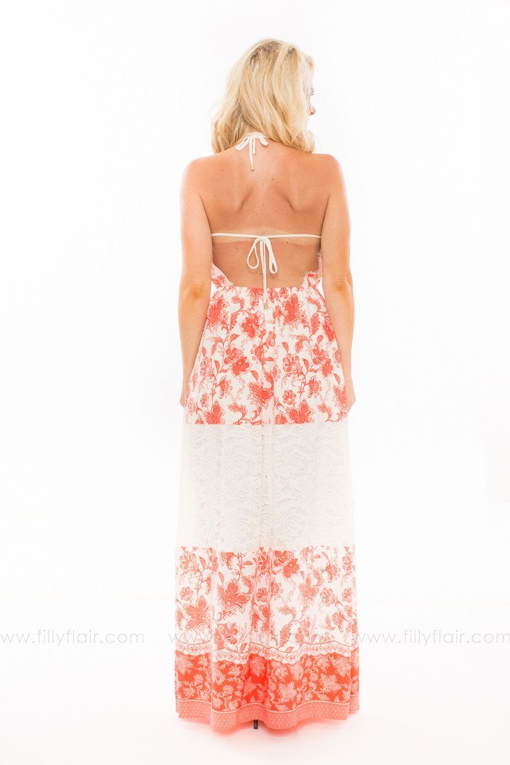 An Expression of Beauty Floral and Lace Maxi Dress