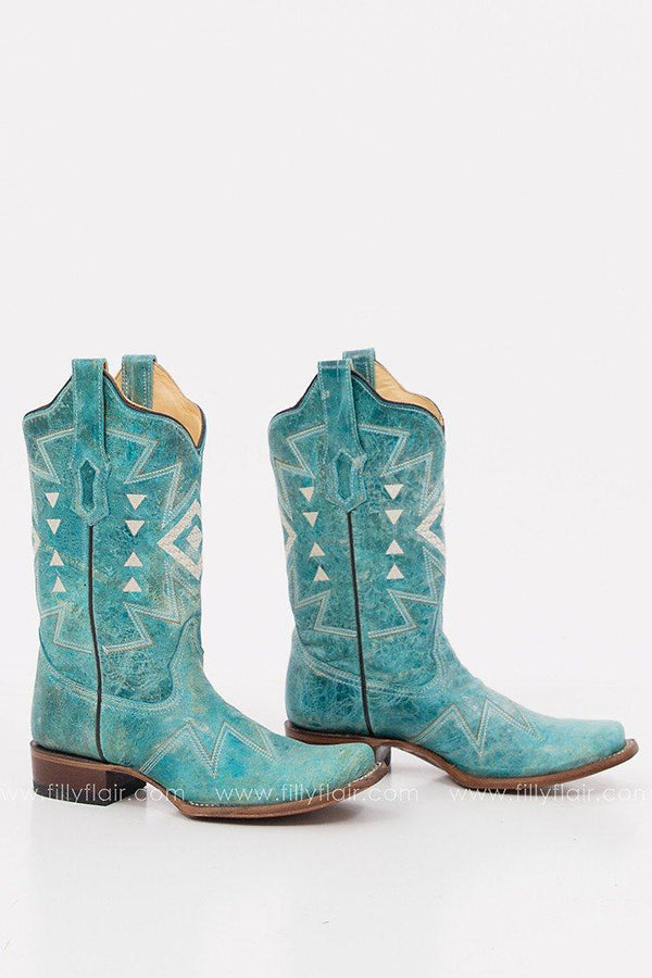 Corral Turquoise Ethnic Embroidery Western Boot