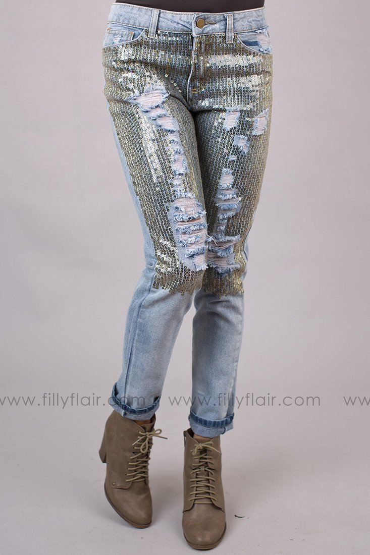 Sequin Boyfriend Jeans in Gold