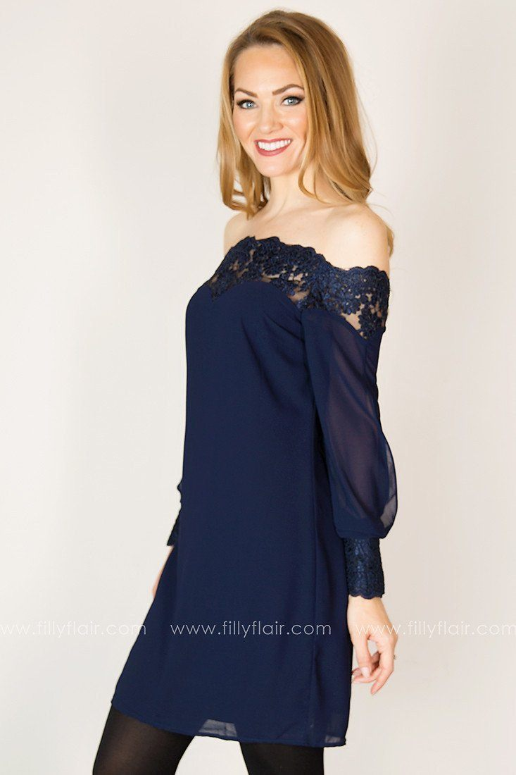Sweet Thoughts Long Sleeve Lace Yoke Dress in Navy