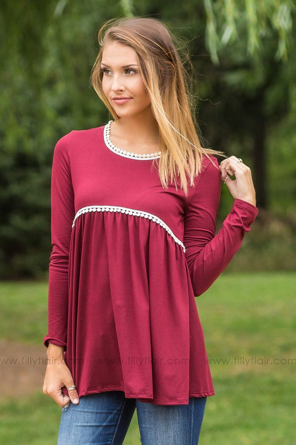 At First Glance Burgundy Long Sleeve Babydoll Top