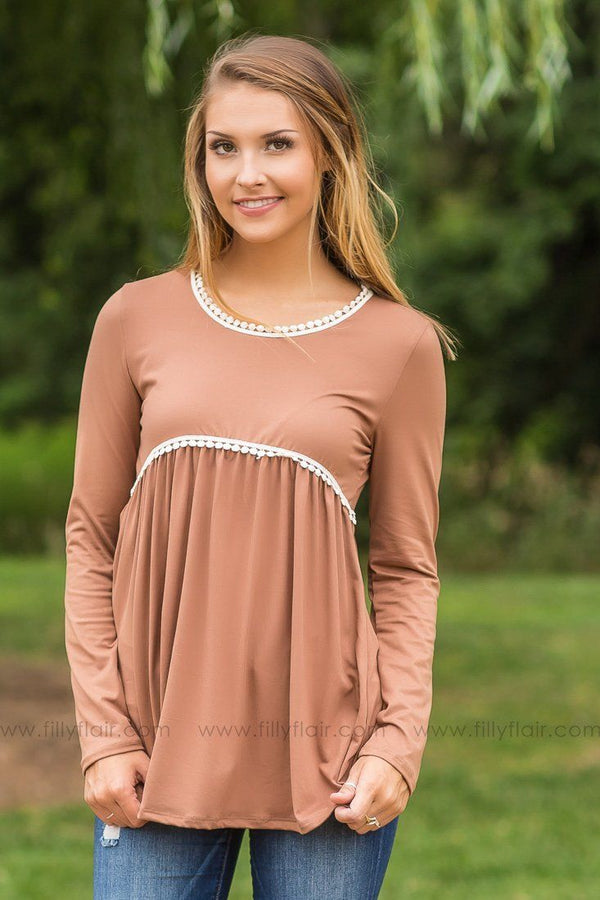 At First Glance Camel Long Sleeve Babydoll Top