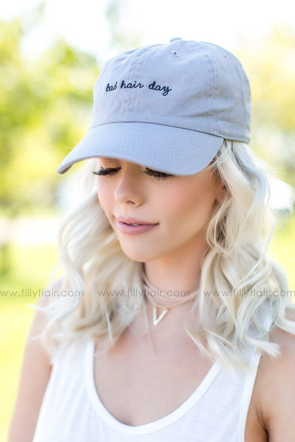 Bad Hair Day Baseball Cap in Grey