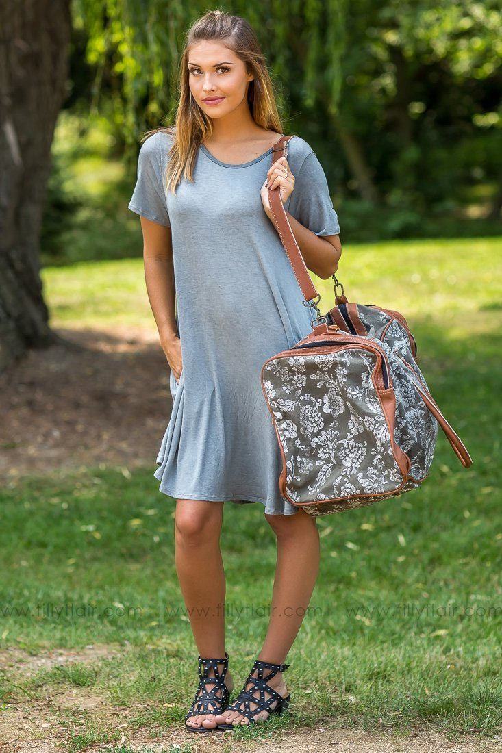 Weekend Getaway Grey Floral Printed Duffle Bag
