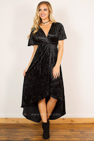 Holiday Decadence Wrap Dress in Black