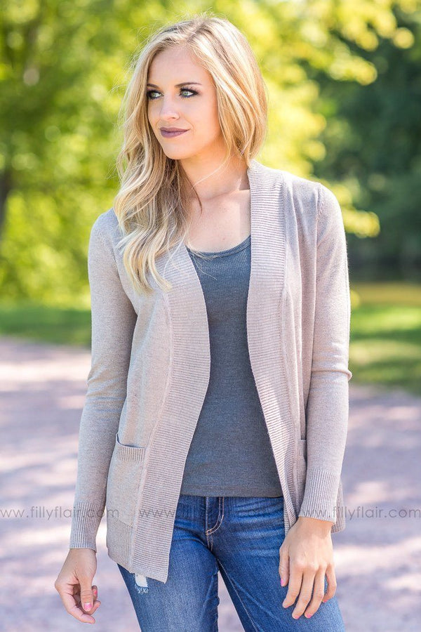 Perfectly Yours Open Classic Cardigan In Camel