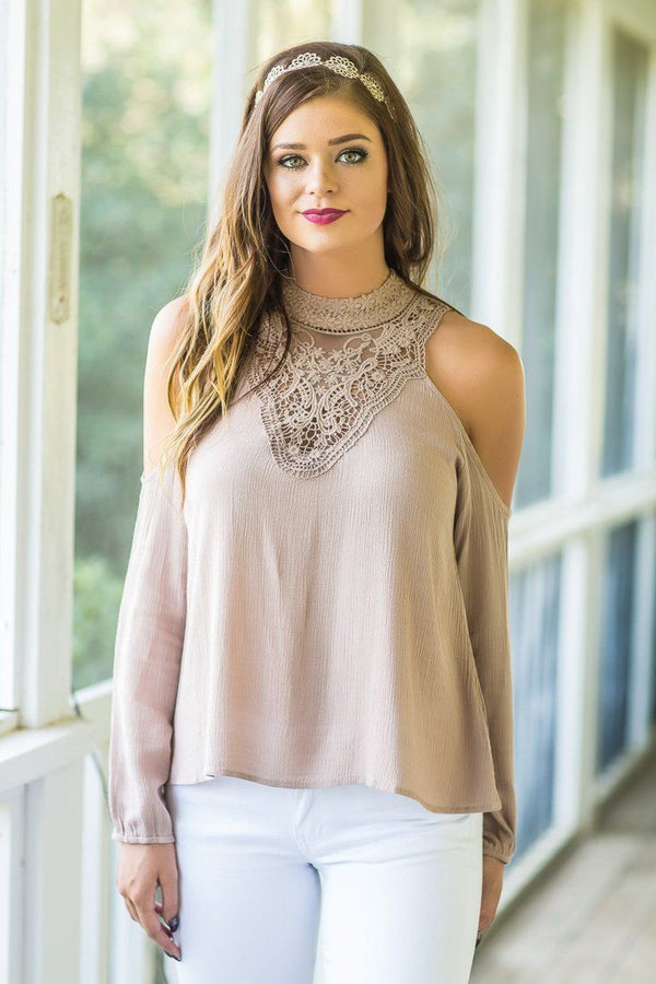 Mesa Taupe Cold Shoulder Lace Long Sleeve Top