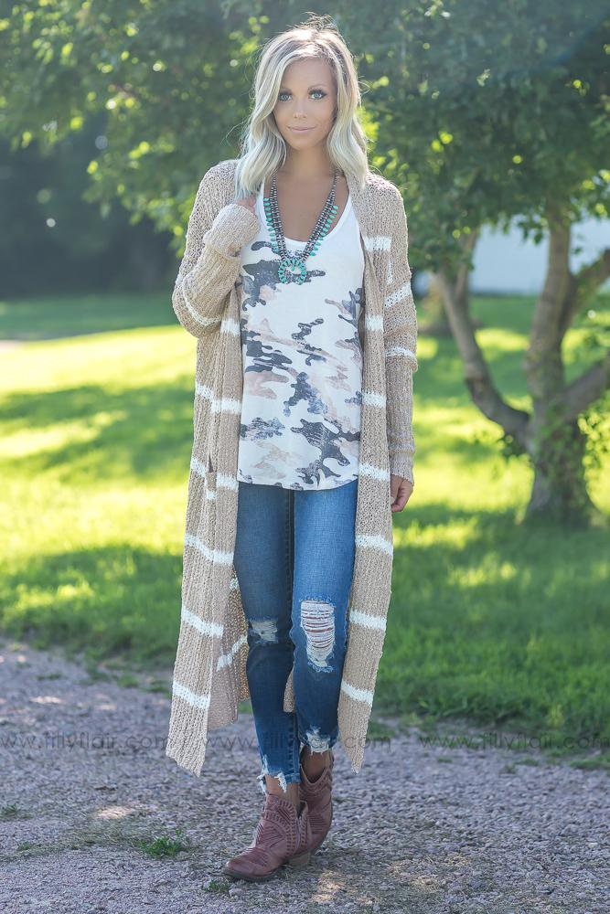 Time After Time White Stripe Long Sweater Cardigan in Taupe - Filly Flair
