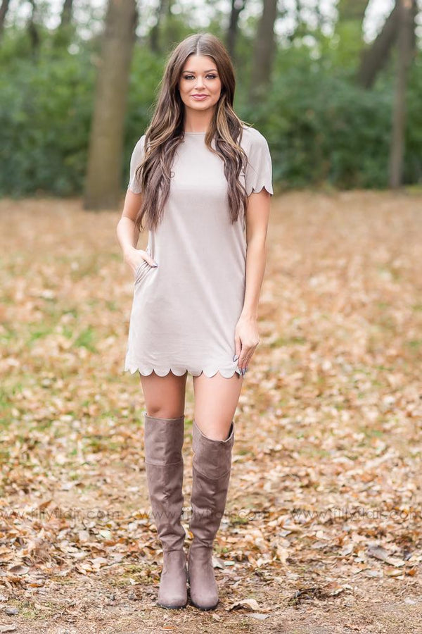 Classic Looks Scalloped Dress in Taupe - Filly Flair