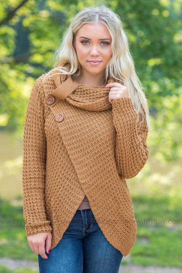 Cowl Neck Dreams Sweater in Camel - Filly Flair