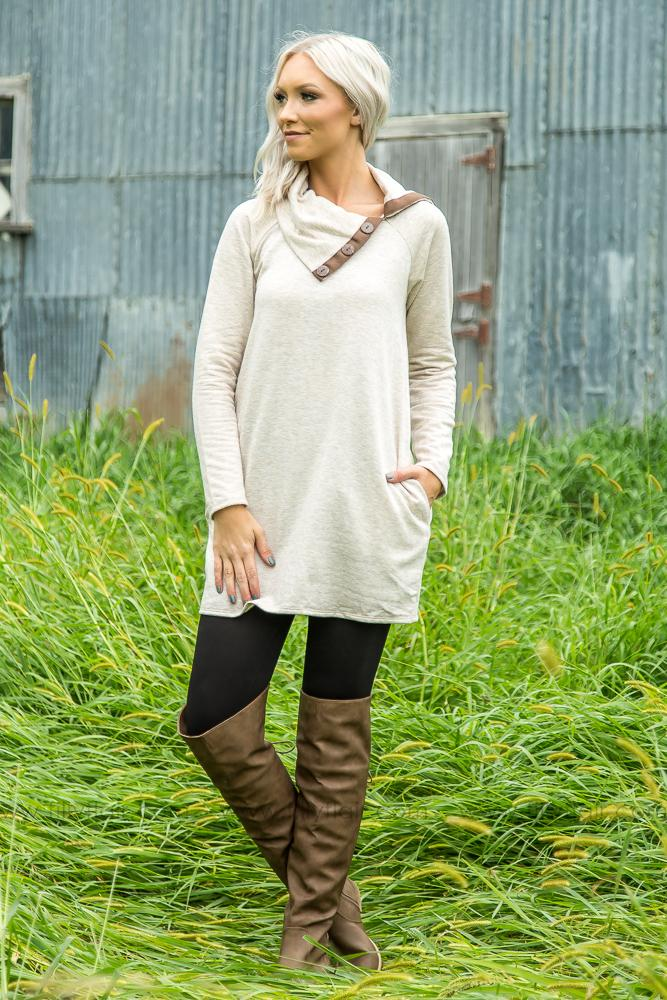 Keeping You Warm Oatmeal Fleece Tunic Dress - Filly Flair