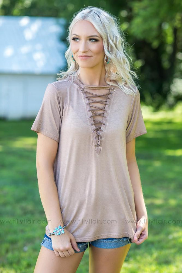 Everyday Love Mocha Lace Up Short Sleeve Top - Filly Flair