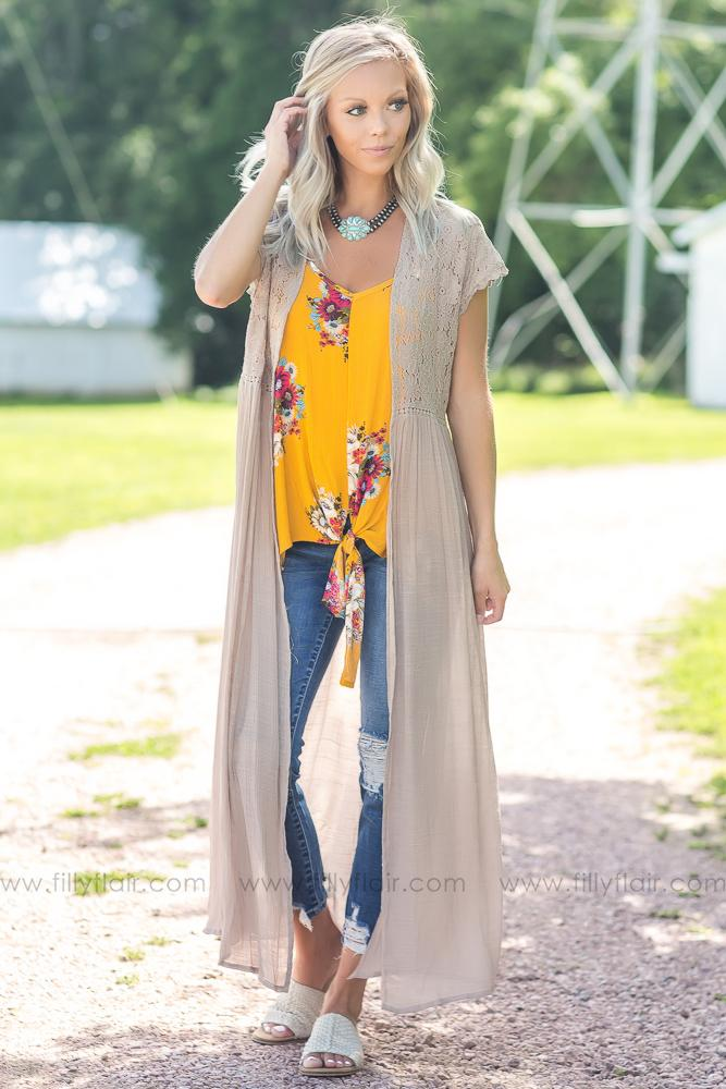 Field of Dreams Lace Maxi Cardigan in Taupe - Filly Flair
