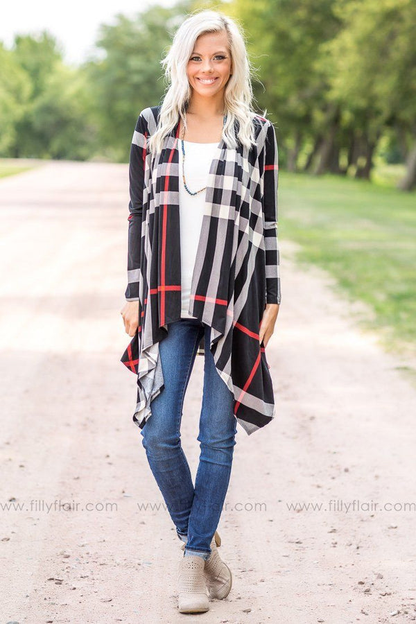 Paris Plaid Long Sleeve Cardigan