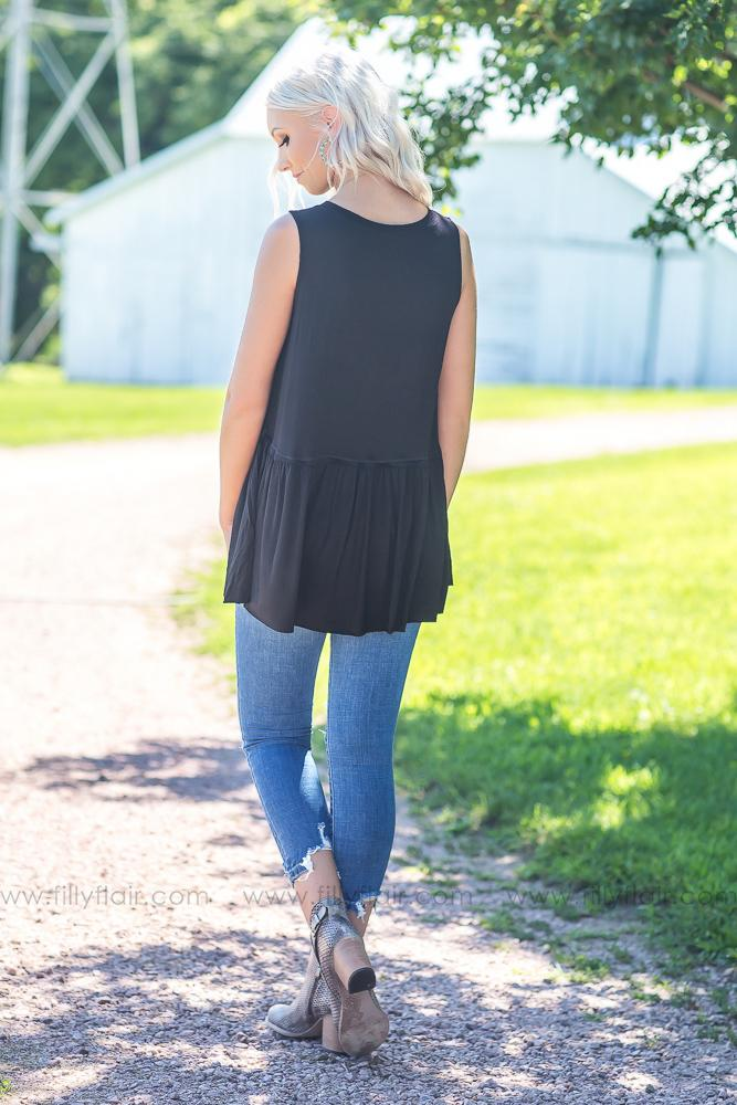 Easy Going Love Sleeveless Top in Black - Filly Flair
