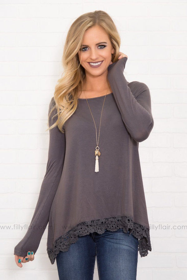 Pretty in Lace and Dark Grey Long Sleeve Lace Hem Top