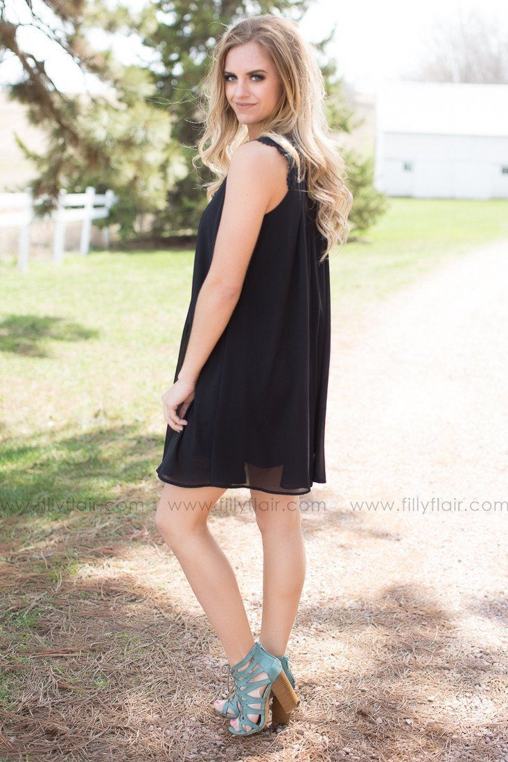 In Full Swing Strappy Front Crochet Dress in Black