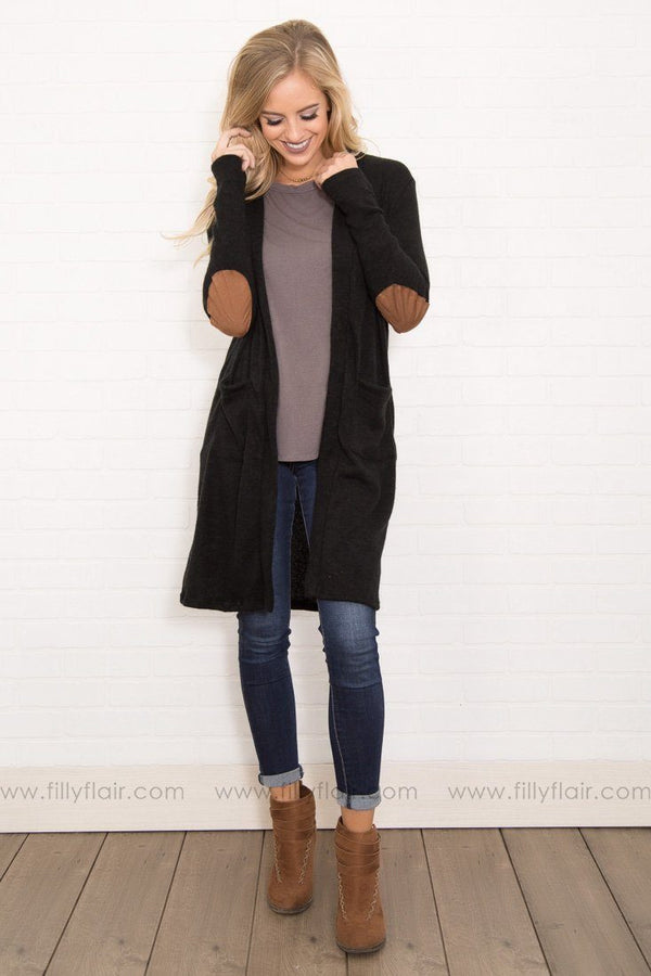 Kansas Long Sleeve Suede Elbow Patches Cardigan in Black