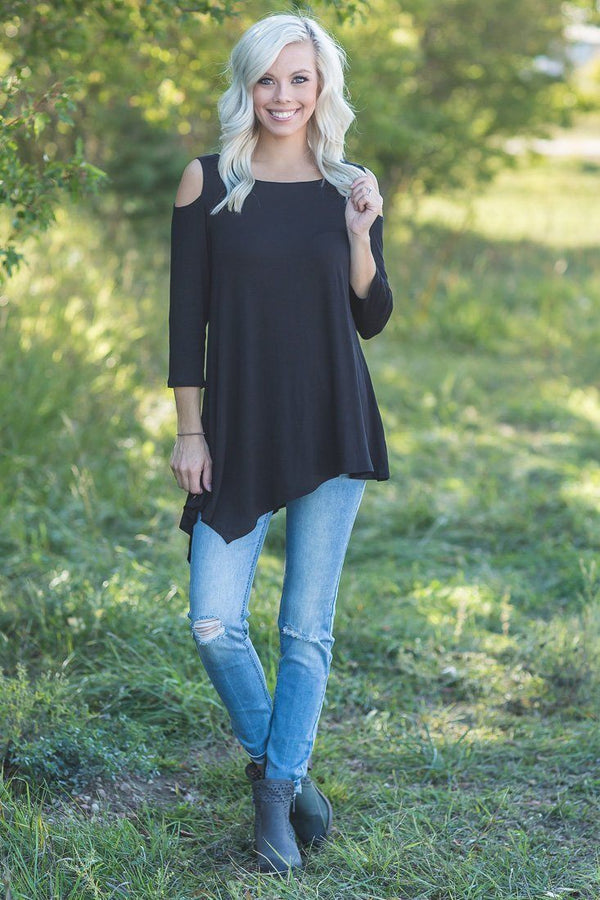 Dreamy Days Black Cold Shoulder A Symmetrical Top