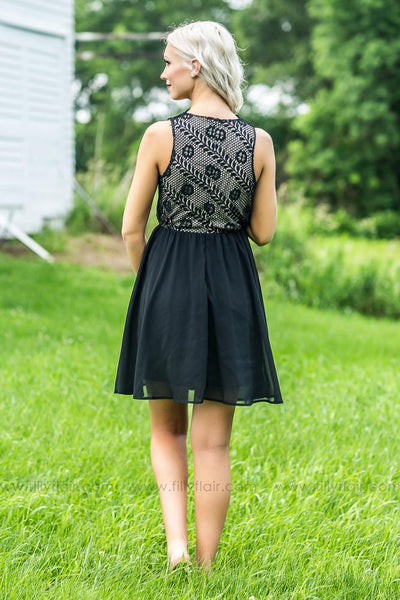 Filly Flair Exclusive: Darling Scalloped Lace Dress in Black - Filly Flair
