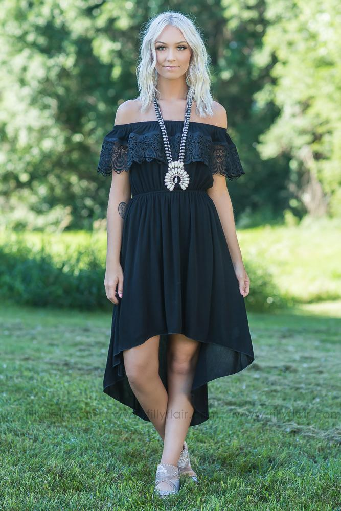 We Both Know Off the Shoulder Hi Low Dress in Black - Filly Flair