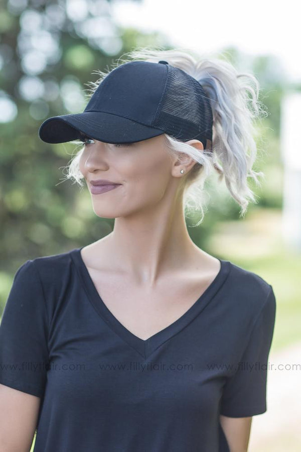 CC Black Mesh Ponytail Baseball Cap