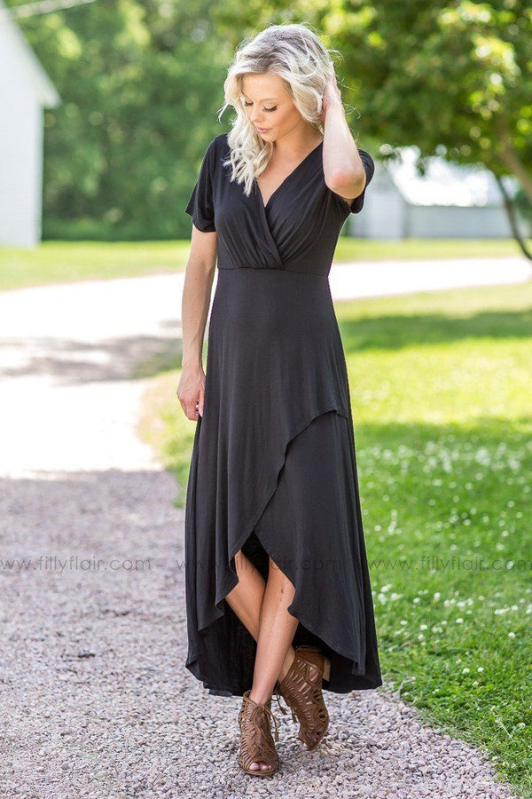 Simple Days High Low Dress in Black