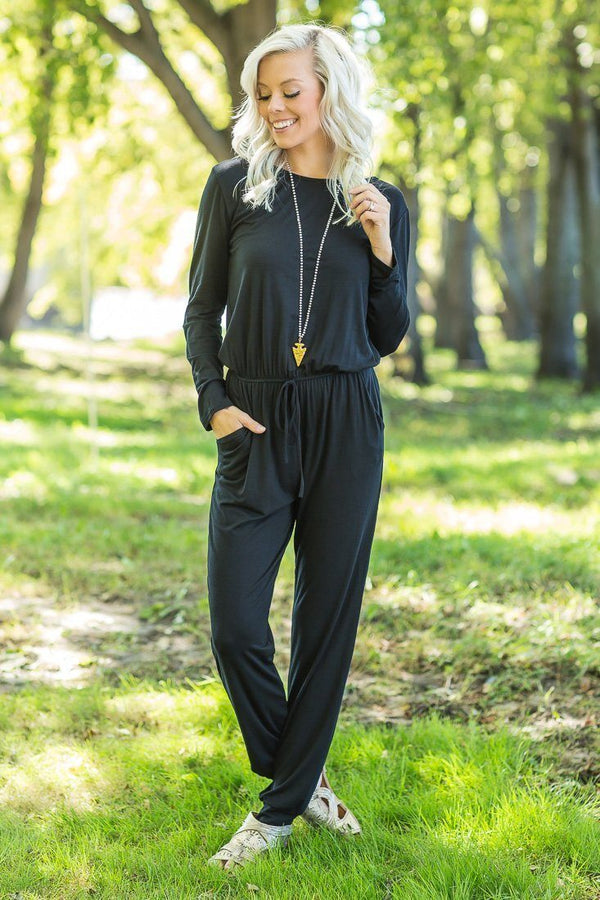 Head Over Black Long Sleeve Jumpsuit