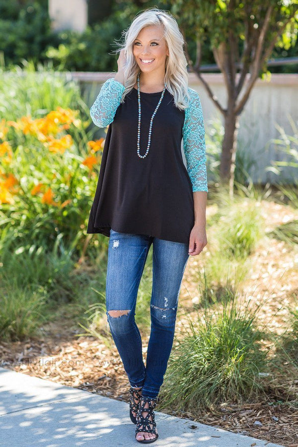 Aqua Fresh Lace Long Sleeve Top