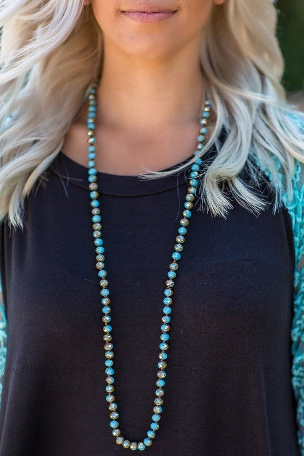 Turquoise Beaded Crystal Necklace