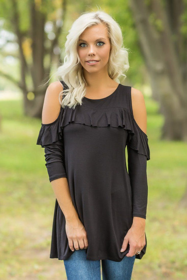 Black Cold Shoulder Long Sleeve Ruffle Detail Tunic