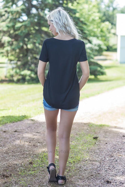 Boyfriend Classic Solid VNeck Tee In Black - Filly Flair