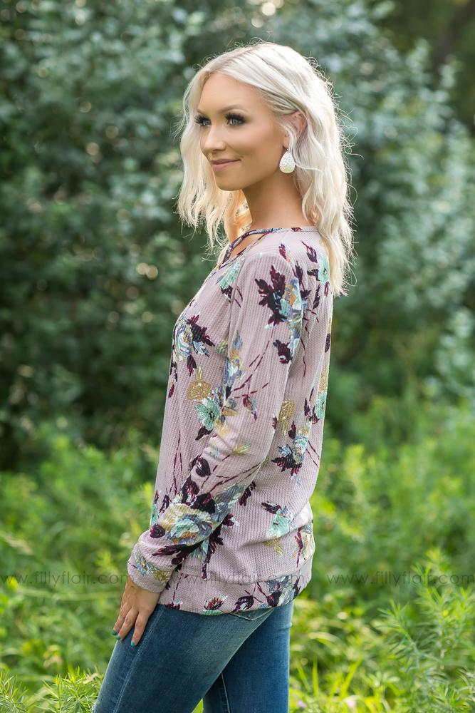 Waiting on You Lilac Floral Long Sleeve Top - Filly Flair