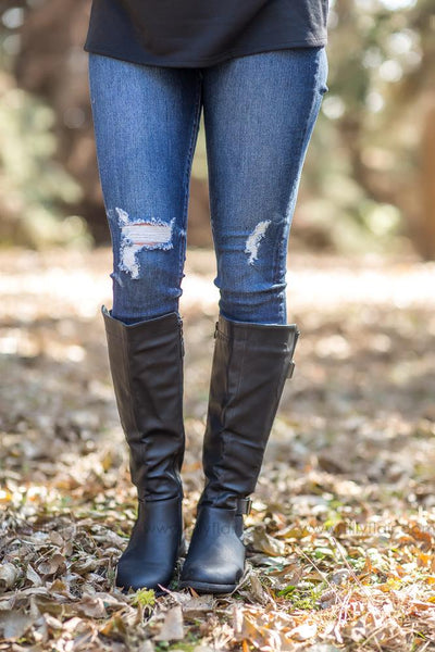Take A Step Up Wide Calf Boot in Black - Filly Flair
